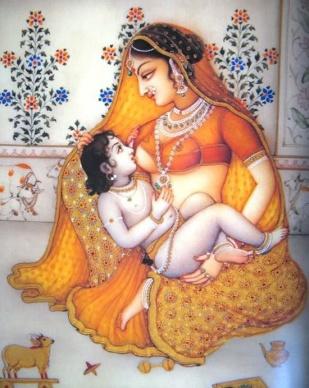 Yashoda Maiyya breastfeeding Krishna